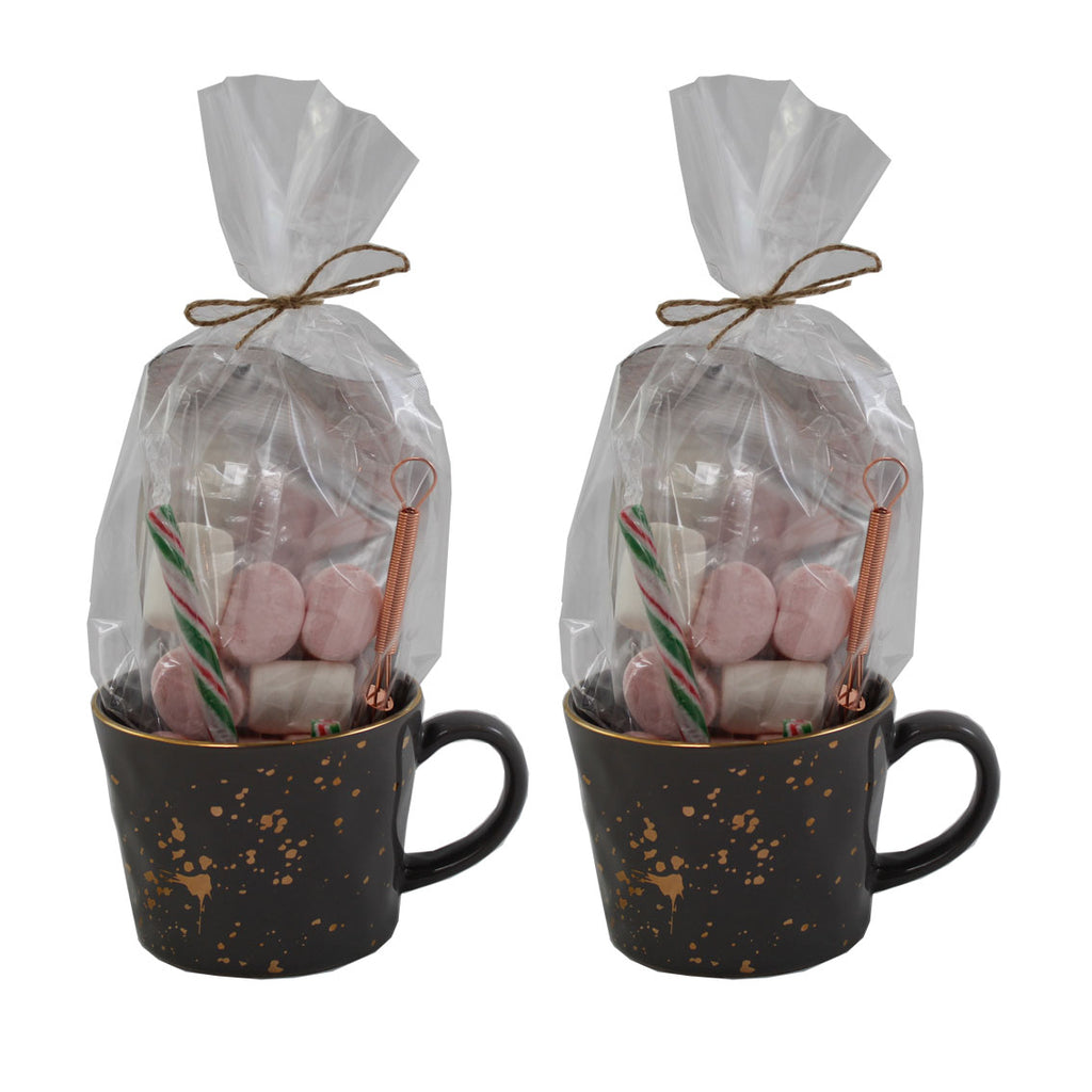 Luxury Hot Chocolate Gift Set with Grey and Gold Splatter Mugs