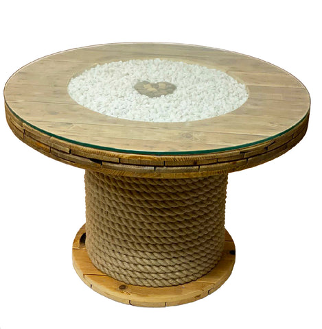 Rustic up-cycled cable drum coffee table - Heart