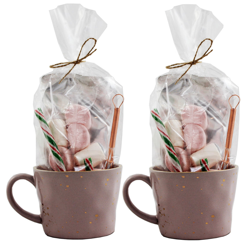 Luxury Hot Chocolate Gift with Pink and Gold Splatter Mugs