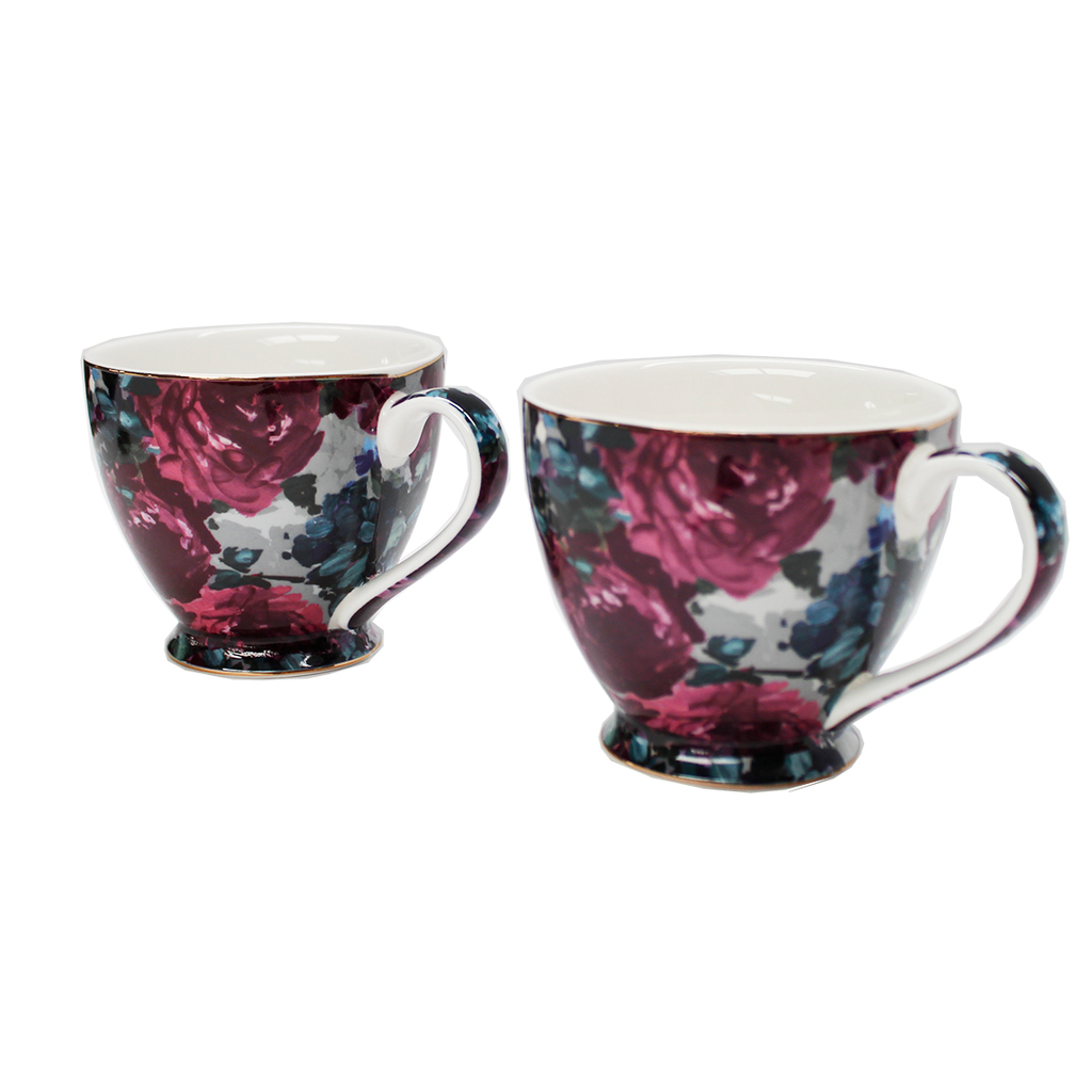 Purple Floral Mugs - Set of Two