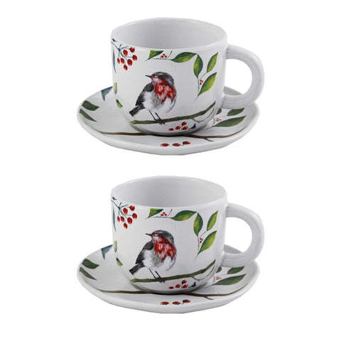 Set of 2 Robin Cup & Saucer