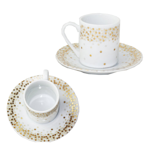 Set of 2 - Gold Spot & White Espresso Cup and Saucer