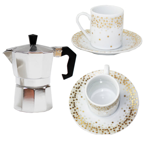Espresso Maker & Gold Spotty Cup Gift Set
