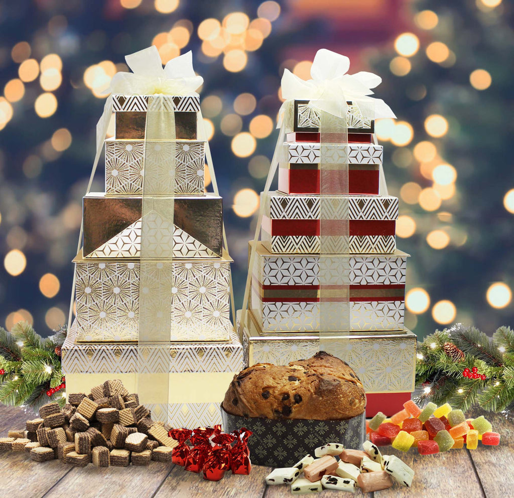large festive tower of treats.