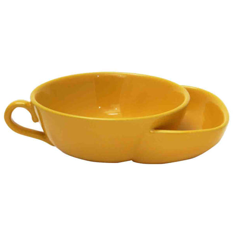 Yellow Stoneware Chip and Dip Bowl from China Blue