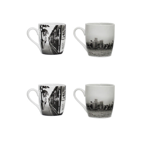 Set of Four City Mugs