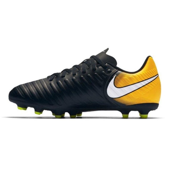 Jr. Tiempo Rio IV (FG) Firm-Ground Football Boots - Black/Laser Orange