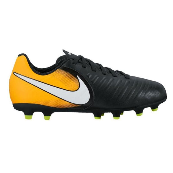 Nike Jr. Tiempo Rio IV (FG) Firm-Ground Football Boots - Black/Laser Orange