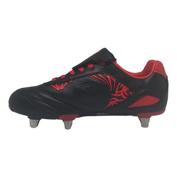 Kids Razor Rugby Boots - Black/Red