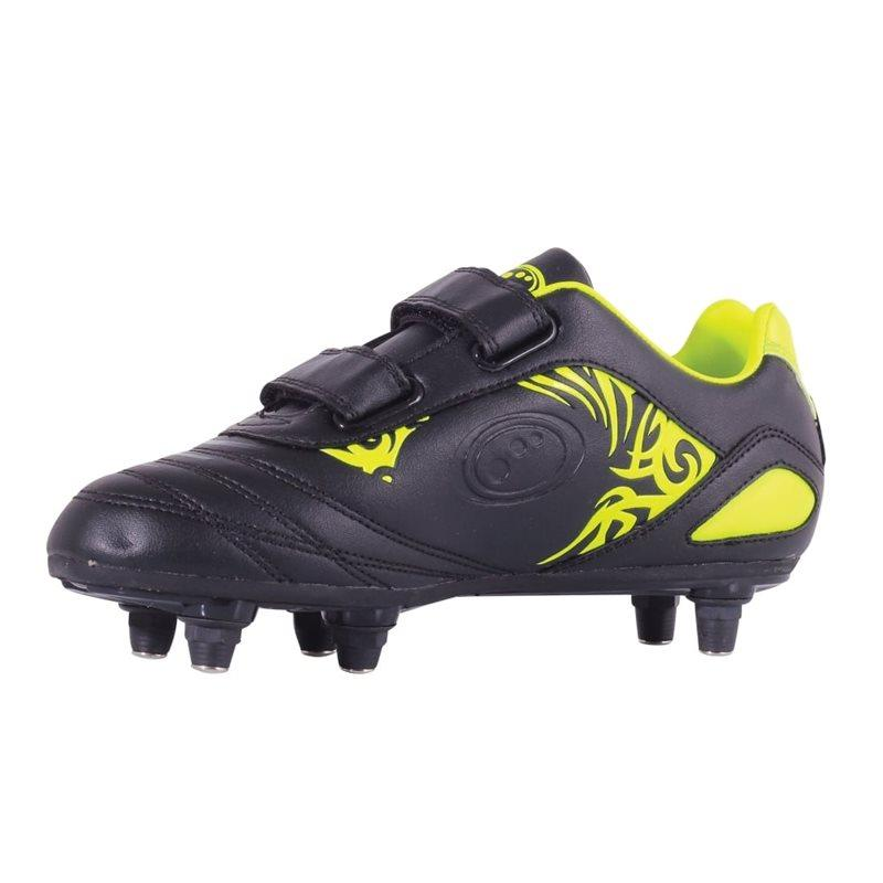 Kids Razor Velro SG Football Boots - Black/Fluo Yellow