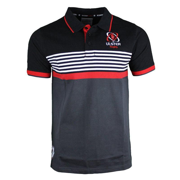 Kukri Ulster Rugby Athletic Fit Yarn Dye Polo 17/18 - Black