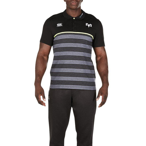 Ospreys Rugby Cotton Jersey Stripe Polo 17/18 - Tap Shoe