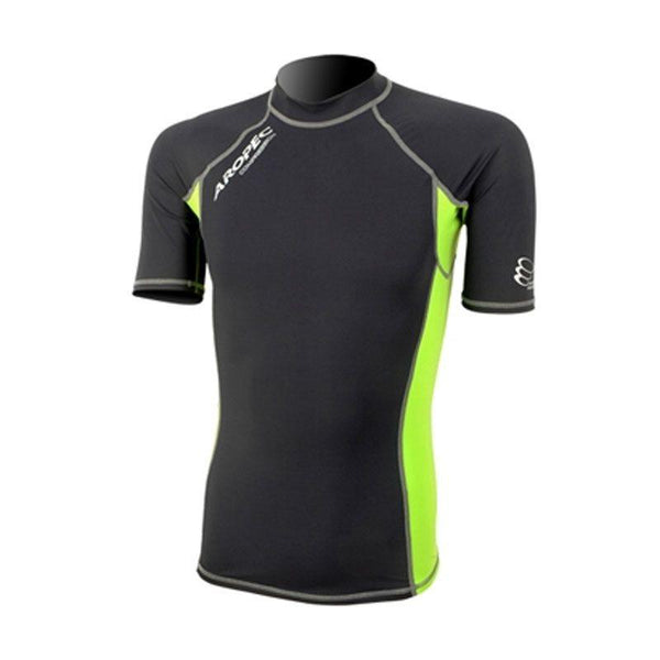 Aropec Short Sleeve Compression Top - Black/Lime