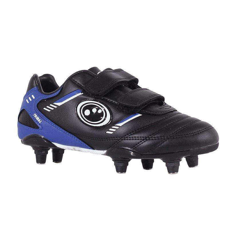 Tribal Junior Non Laced Stick Rugby Boots - Black/Blue