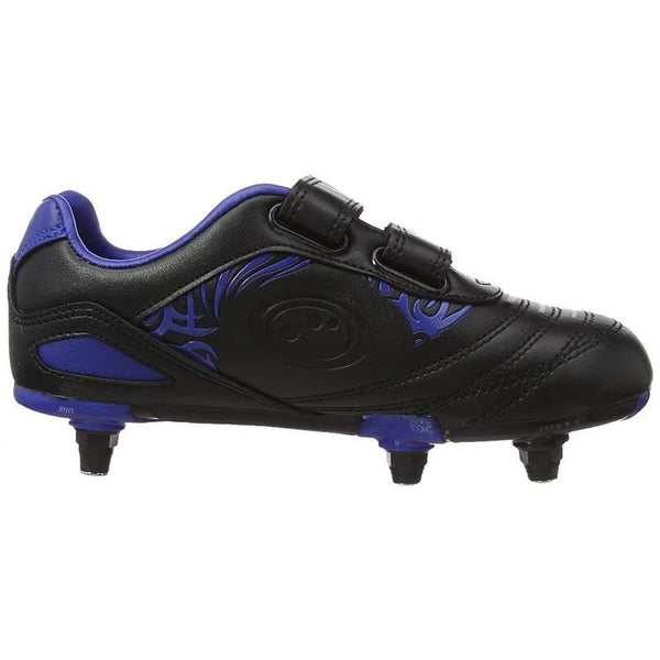 Kids Razor Velcro SG Football Boots - Black/Blue
