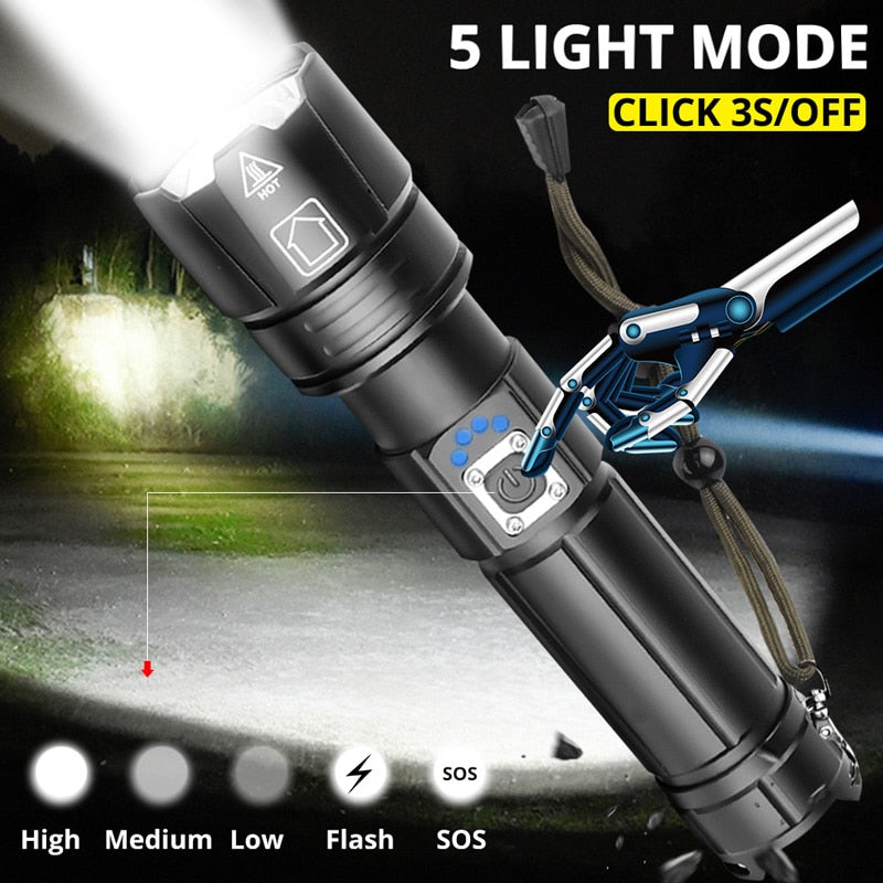 Ultra Powerful XPH LED Tactical Flashlight (USB Rechargeable)