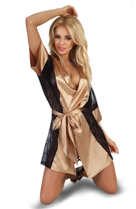 Gold and Black lace robe