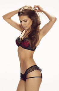 Red and black bra with halterneck detail