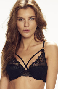 Black lace bra with strap detail - lingerie