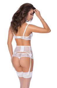Euterpe Suspender Belt in White