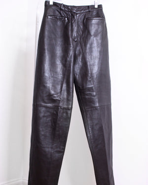 Chocolate Genuine Leather Joggers