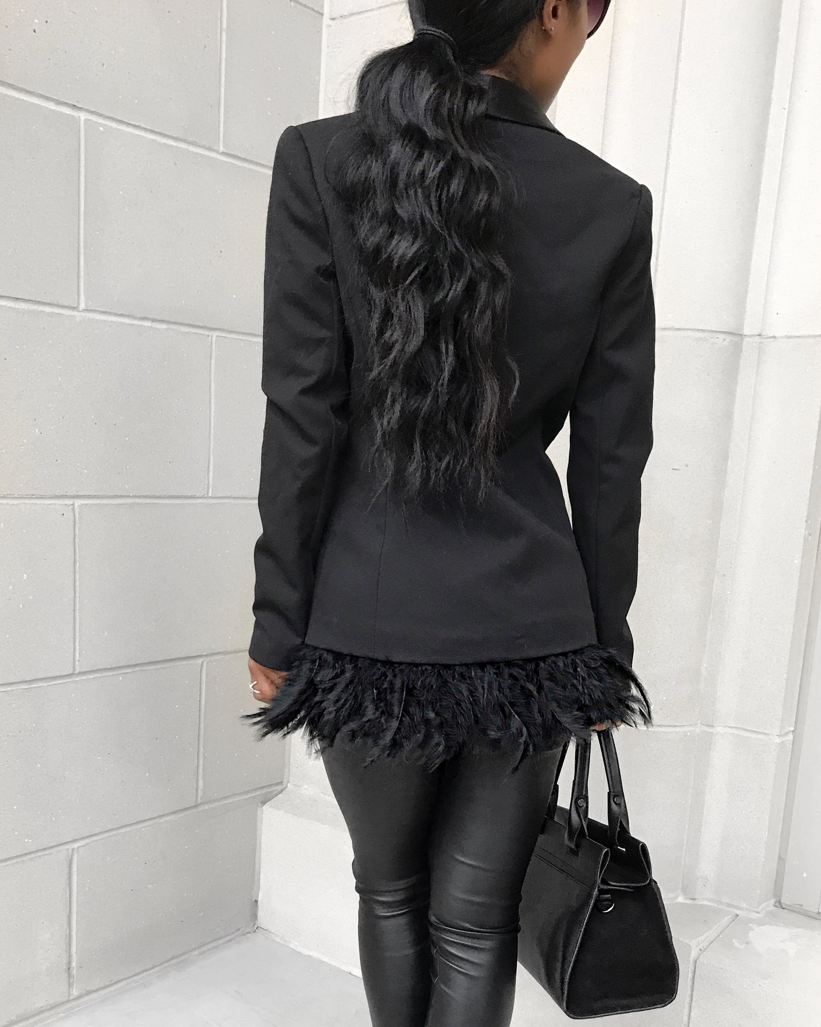 Black Blazer with Feathered Trimming