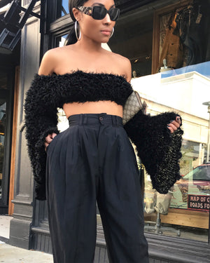Black Fuzzy Crop Top