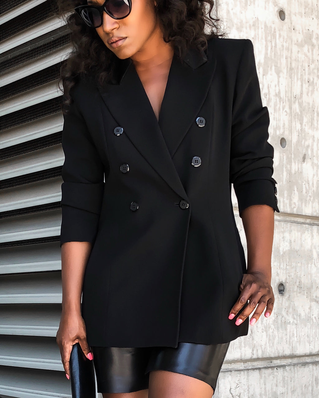 Black Double Breast Blazer with Satin Collar