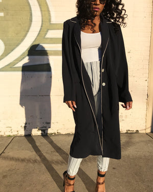 Navy Duster with White Piping