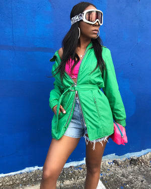 Kelly Green Double Zipper Windbreaker