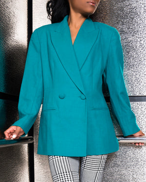 Teal Double-Breasted Blazer