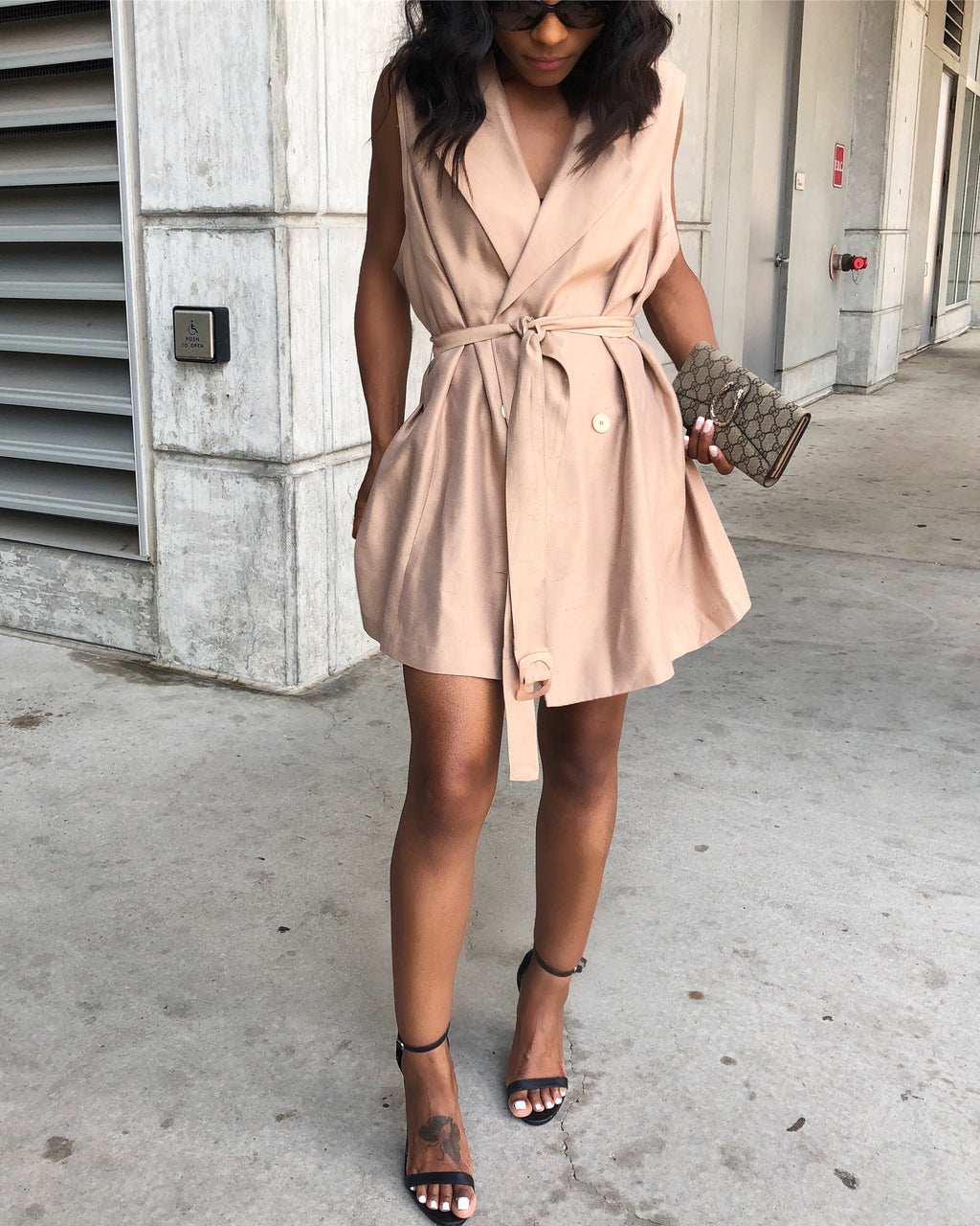 Khaki Wrap Vest Dress