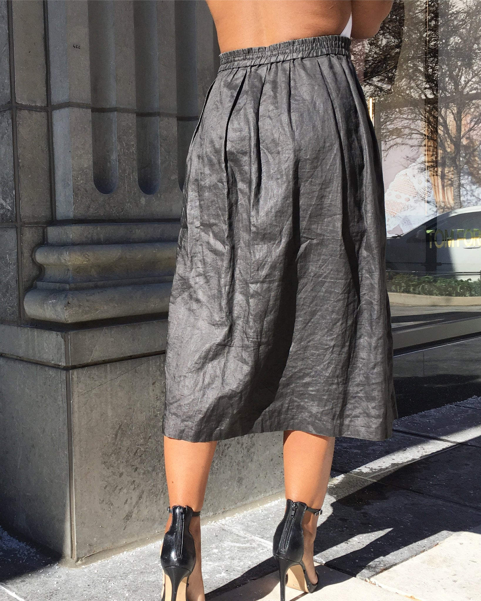 Semi-Crinkle Charcoal Gray Breakaway Skirt
