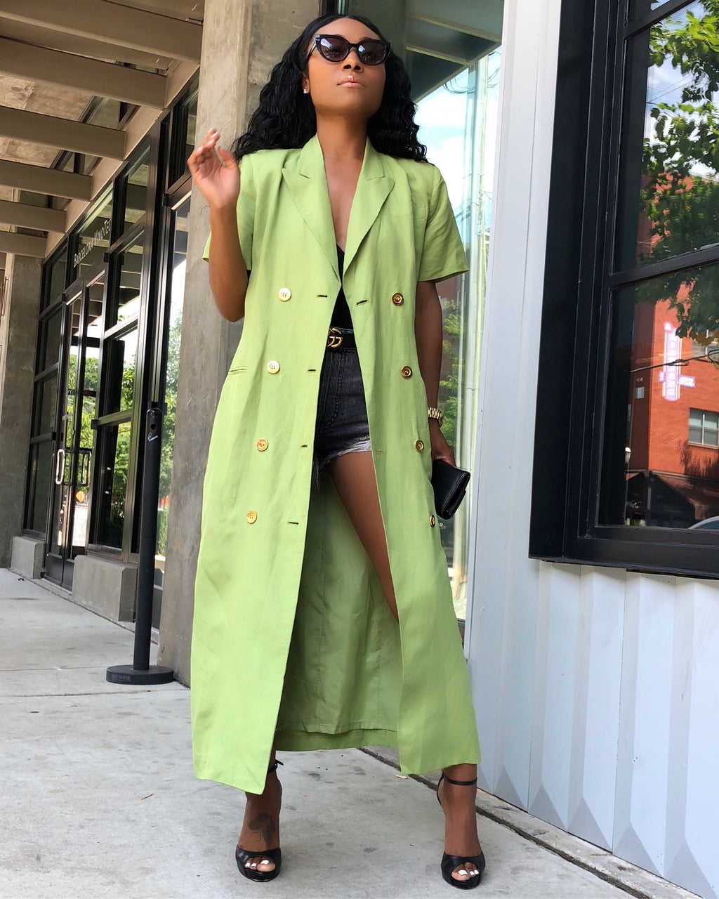 Linen Lime Green Trench Maxi