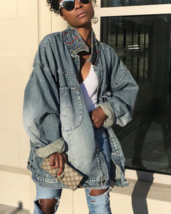 Oversized Jean Jacket with Colorful Collar Threading