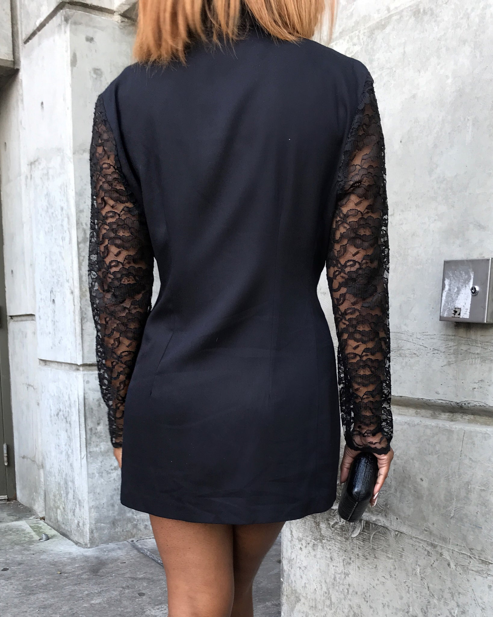 Black Mini Double-Breasted Blazer Dress w/ Lace Sleeves