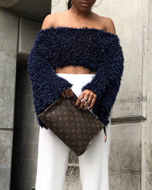 Navy Blue Fuzzy Crop Top