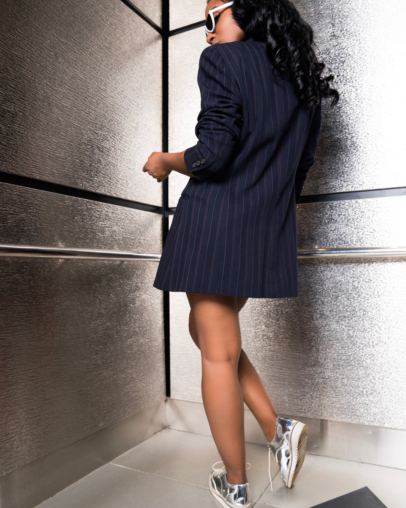 Navy Pinstripe Double-Breasted Blazer/Dress