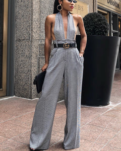 Convertible Houndstooth Pants with Detachable Material to Cover Bust Converting Pants into Jumpsuit