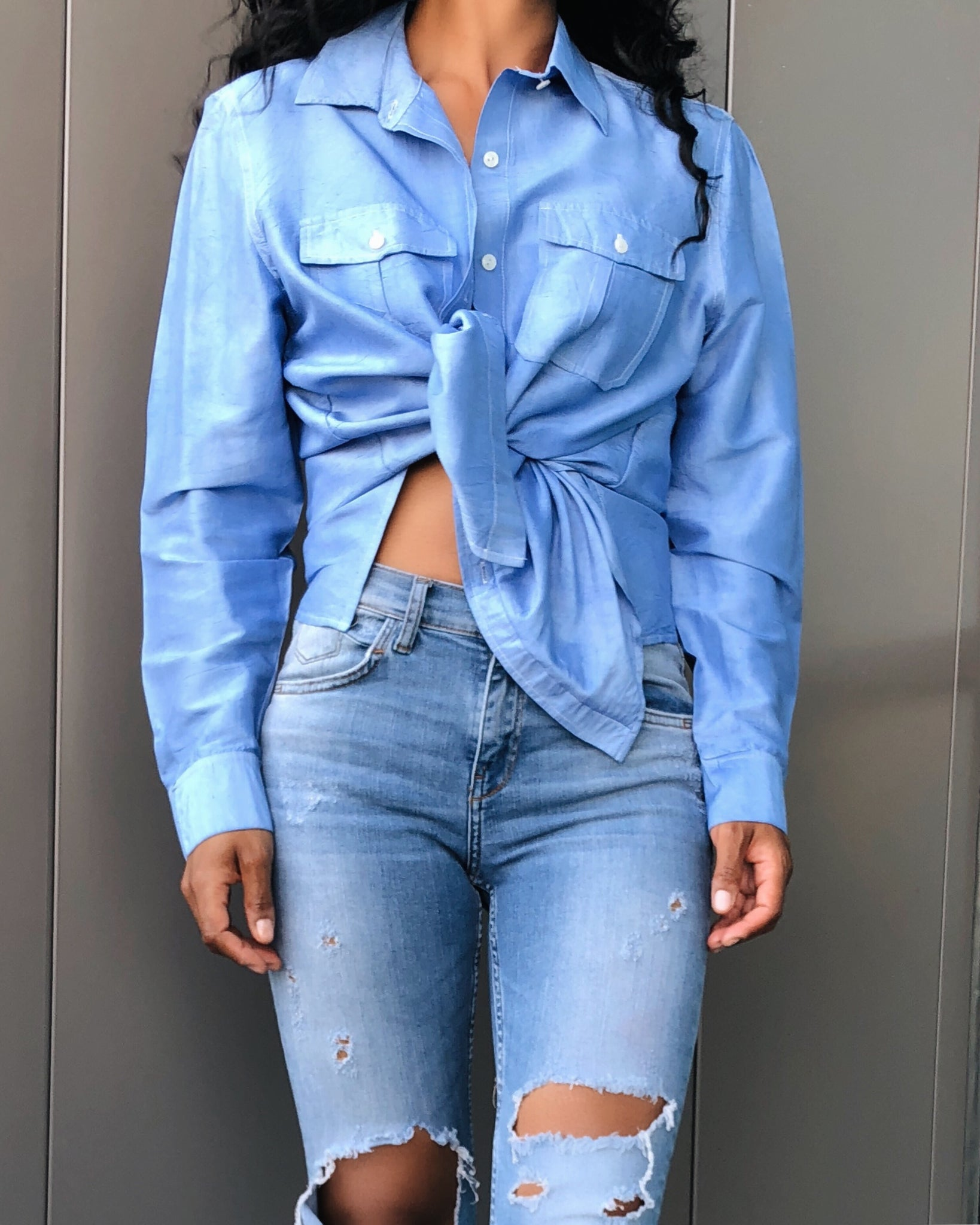Denim Inspired 100% Silk Button Down