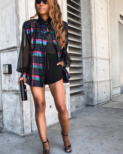 Metallic Blouse w/ Sheer Sleeves