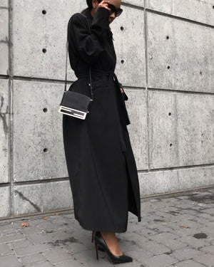 Black Floor Length Duster Coat/Dress