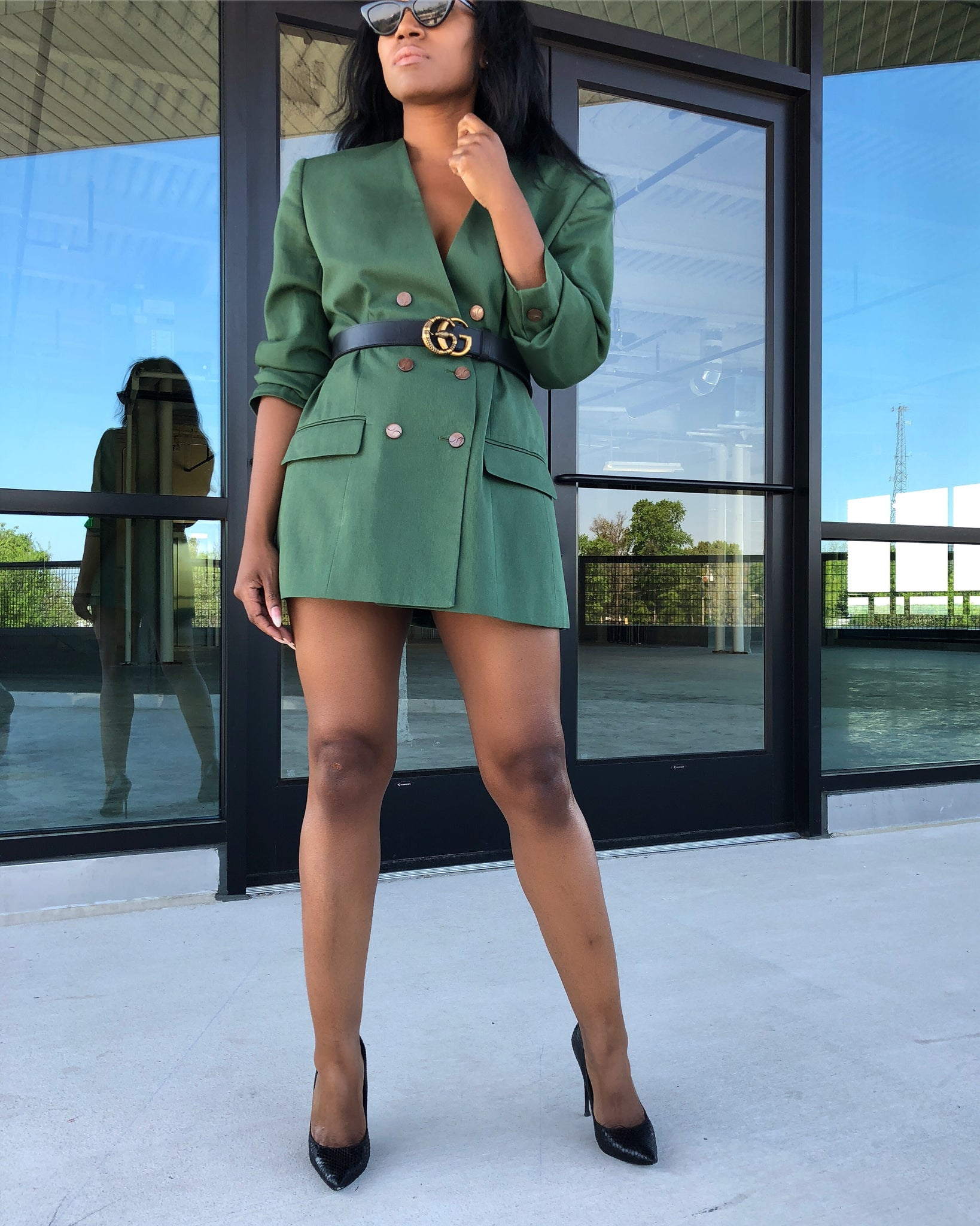 Army Green Double-Breasted Blazer Dress