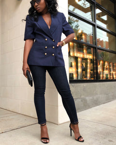 Navy Balmain Inspired Short Sleeve Blazer