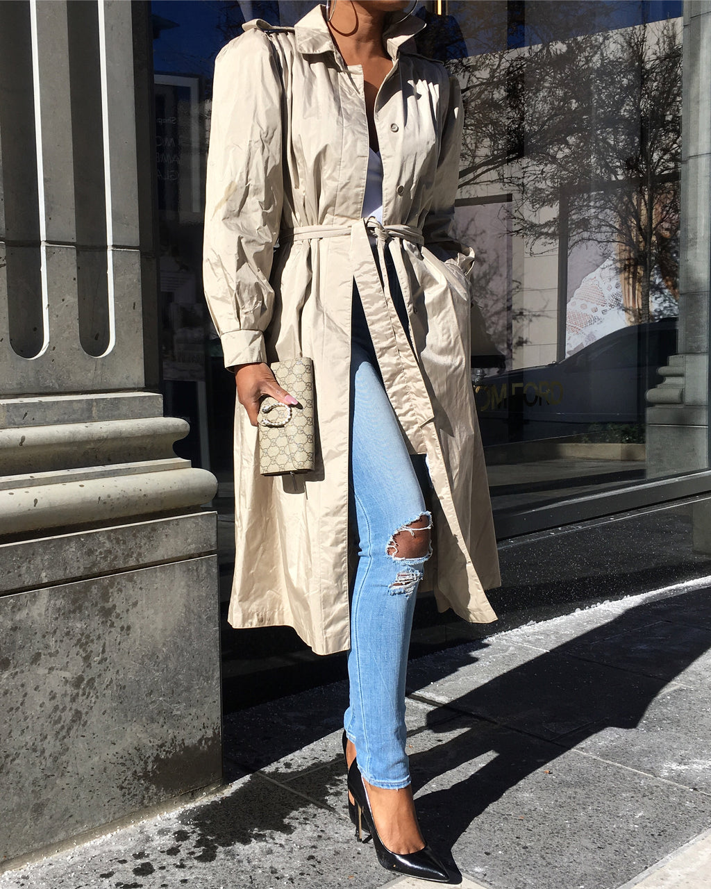 Champagne Rain Trench Coat