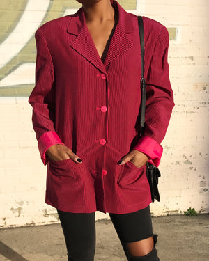 100% Silk Magenta and Black Stripe Blazer