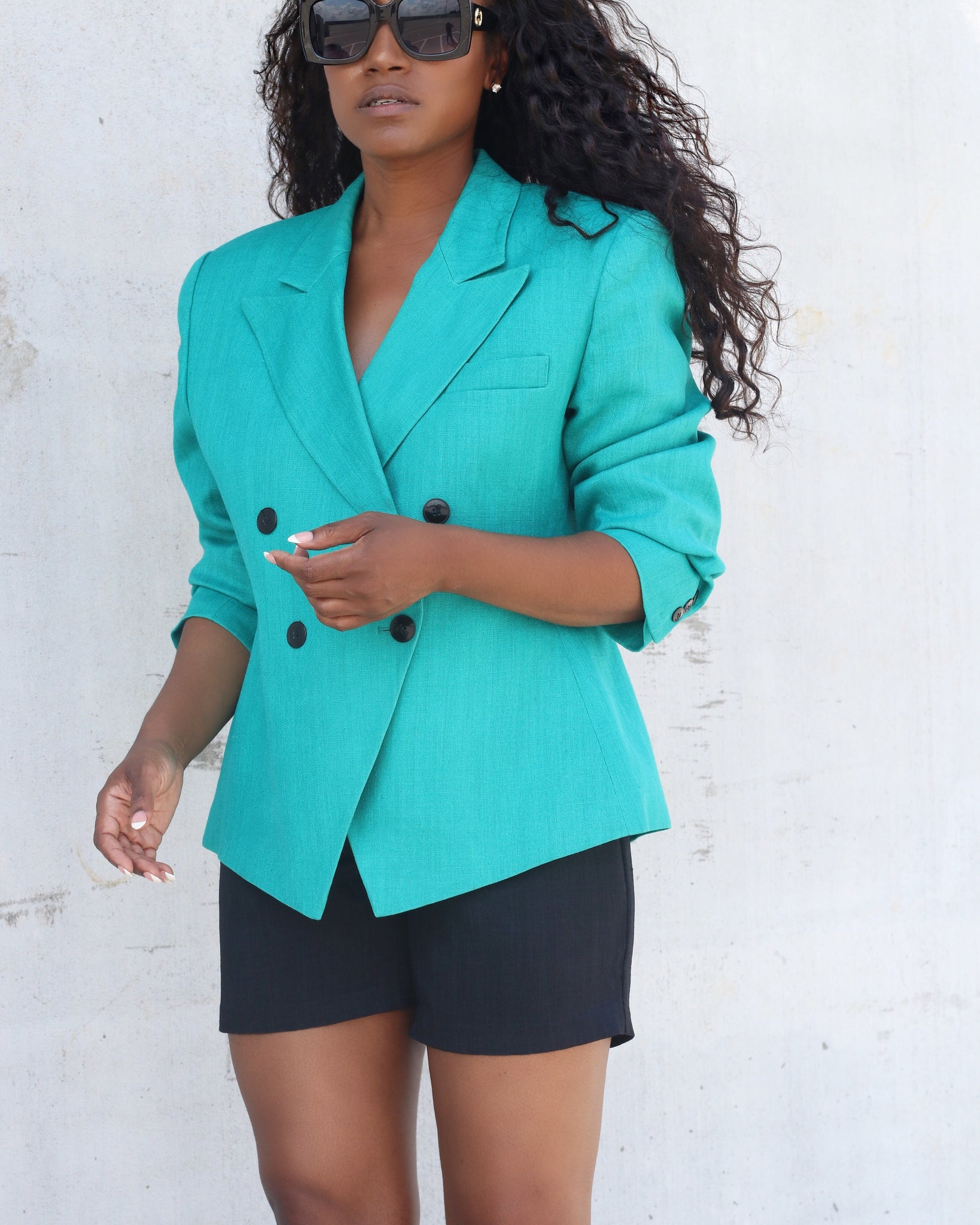 100% Linen Teal Double-Breasted Blazer