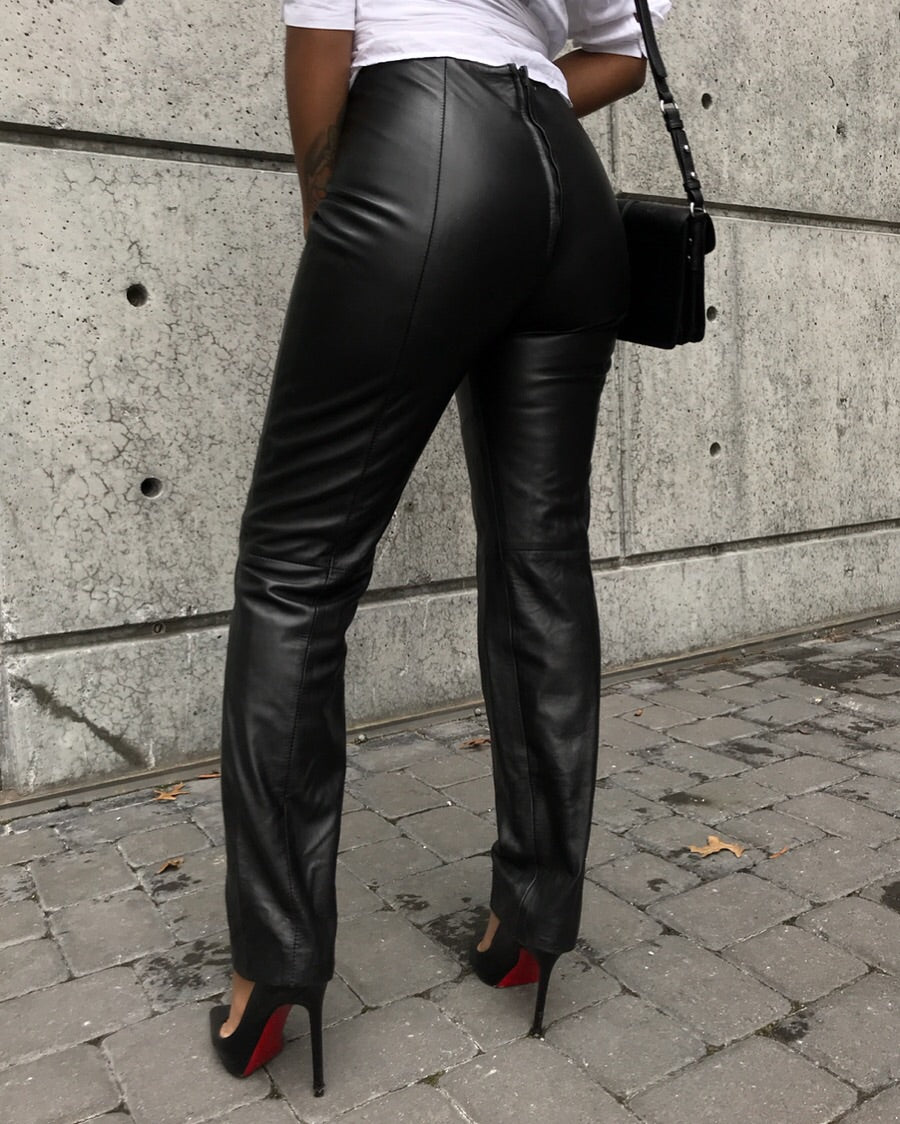 100% Black Leather Trousers