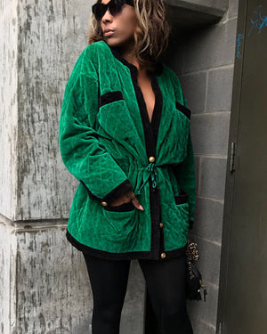 Green Velvet Plush Jacket