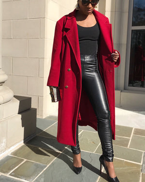 Berry Red 100% Wool Trench Coat